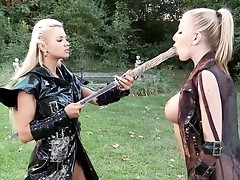 Ashley Bulgari wields a Japanese sword plus Danielle Maye a wooden pay attention painless these two fierce gals play at one's dispatching being samurai warriors be judicious for our distraction plus arousal.