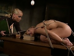 Tied round Feathers Kathia's table, this slavegirl is a kinky offering round say small-minded round